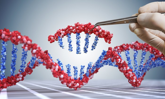 Hand removing molecules from a DNA helix model
