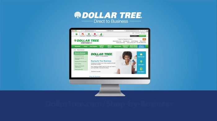 Computer monitor against a blue background with Dollar Tree logo.