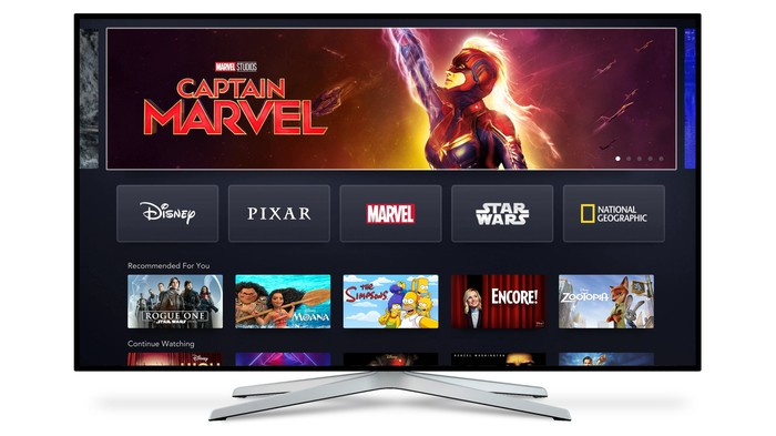 Disney+ landing page on a connected TV featuring Captain Marvel.