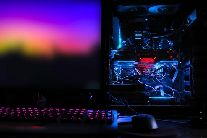 An open desktop PC case.