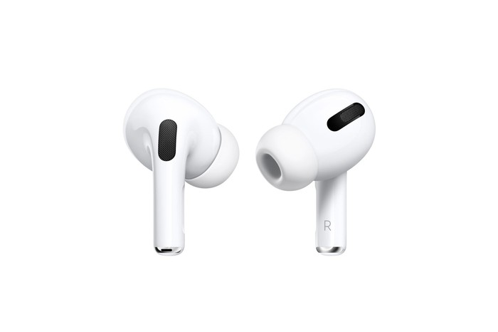 A pair of AirPods Pro earbuds