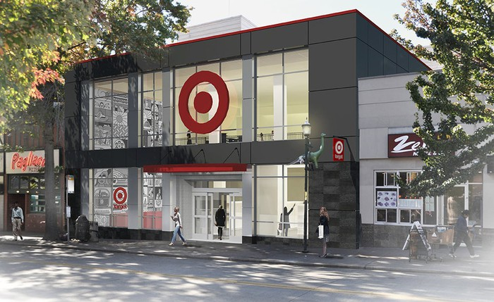 Drawing of small-format Target store near Seattle University.