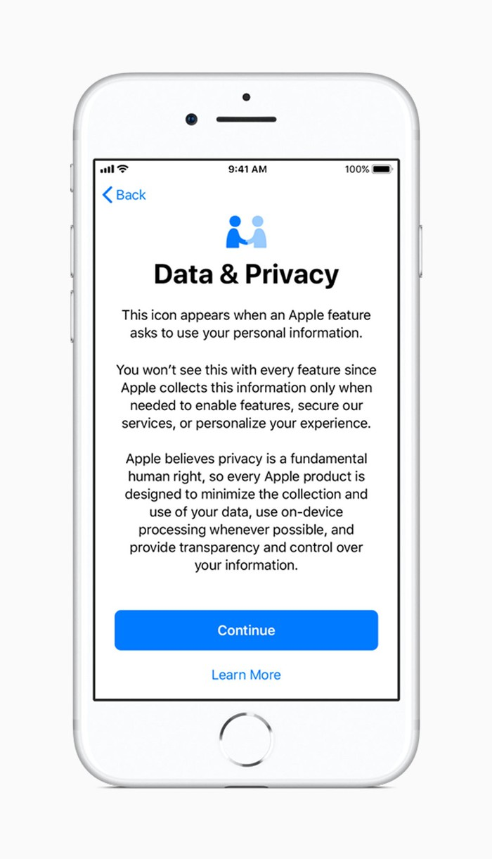 An iPhone displaying information on data and privacy