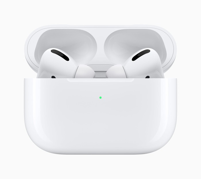 Apple AirPods Pro in a their storage case with the lid open.