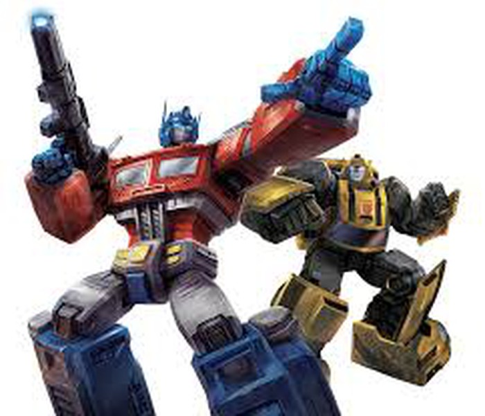 Two illustrated Transformers, toys that can change from robotic soldier into a car or truck.