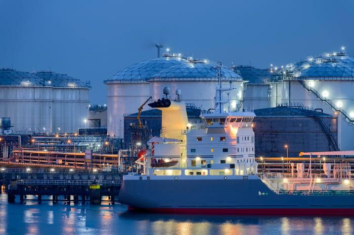 LNG storage tanks and tanker.