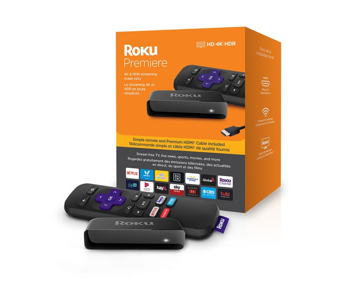 The Roku Premiere with its box and remote control.