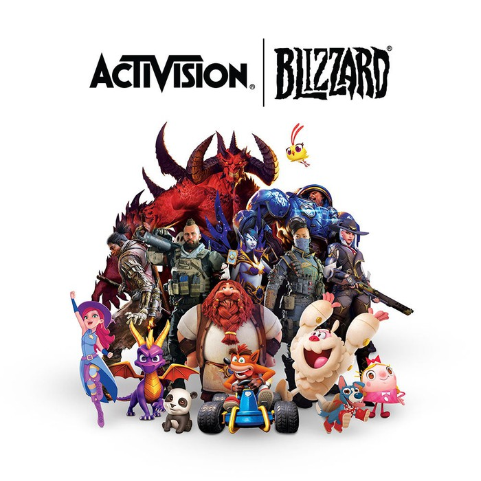 Activision Blizzard's logo and a selection of the company's characters.