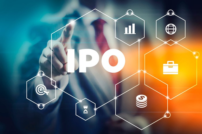A businessman touches an IPO icon that's surrounded by other finance-related icons.