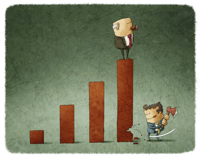 Businessman stands proudly atop a stock chart as another guy with an axe chops at it.