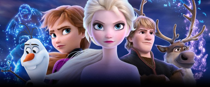 Five characters from Disney's Frozen 2.