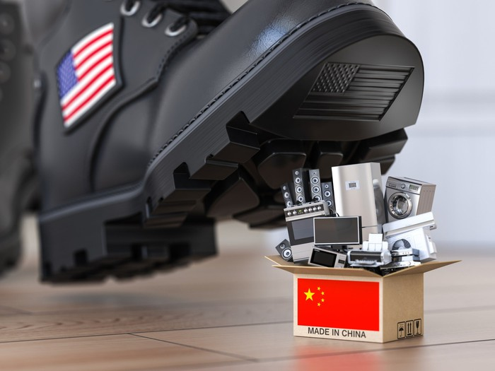 Boot with a U.S. flag on its side about to step on miniature electronic and household goods in a box labeled Made in China.