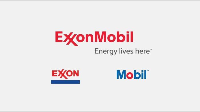 ExxonMobil logos and slogan.
