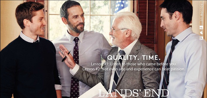 Four men in dress shirts and ties, with Lands' End logo and promo material.