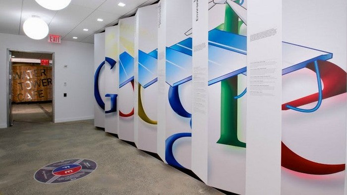 Photo of a large Google logo on a wall in the company's offices in Bucharest, Romania.