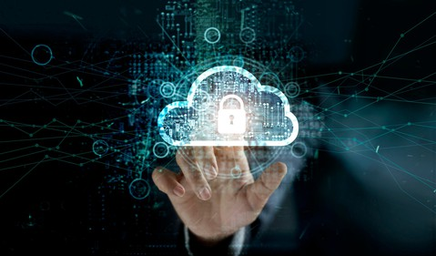 Man touching cloud with padlock icon on network connection