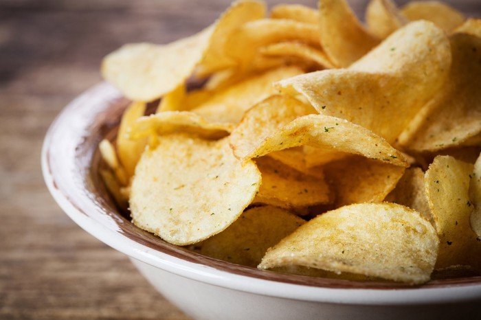 Close-up of kettle-style potato chips.