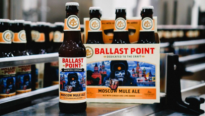 A six pack of Ballast Point beer