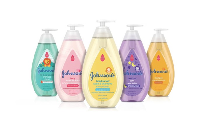 Five bottles of Johnson & Johnson products in different colors..