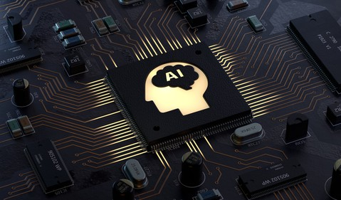 A circuit board with a chip labeled AI at the center