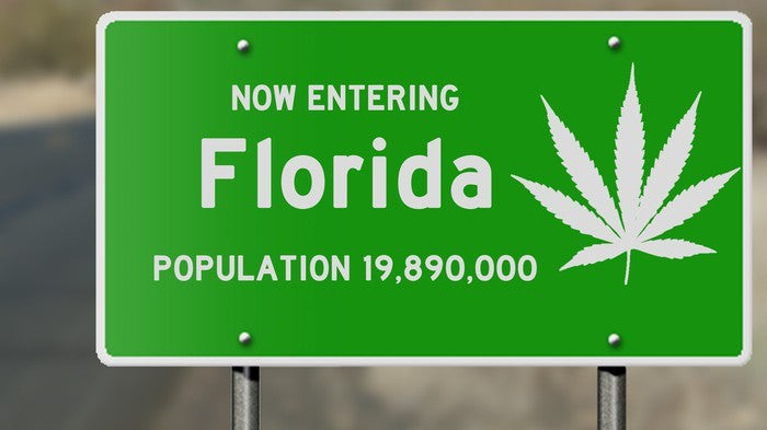 A green highway sign that reads, Now Entering Florida, with a white cannabis leaf on the right-hand side of the sign.