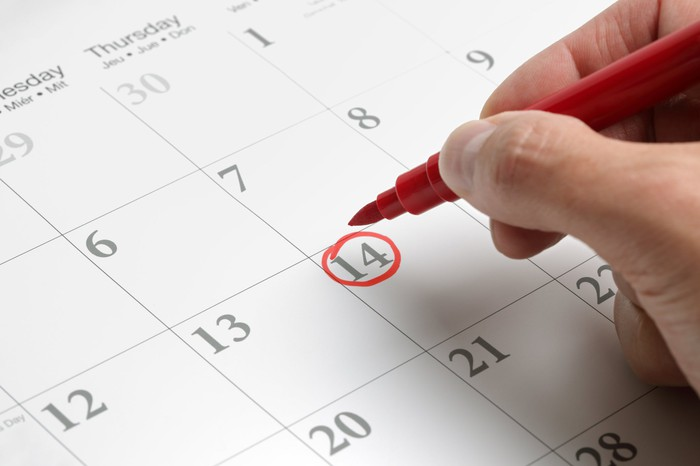 A person circling a date on a calendar with a red pen