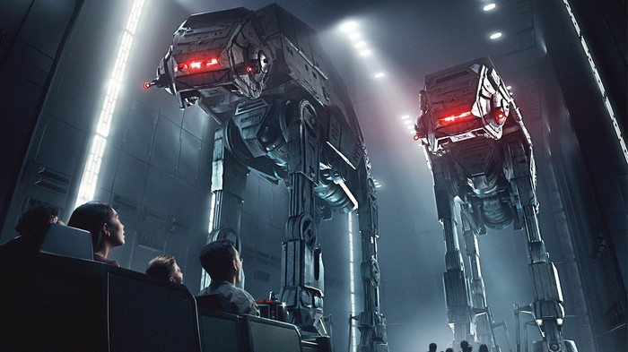 Concept art of Rise of the Resistance as guests ride by life-sized AT-AT war machines.