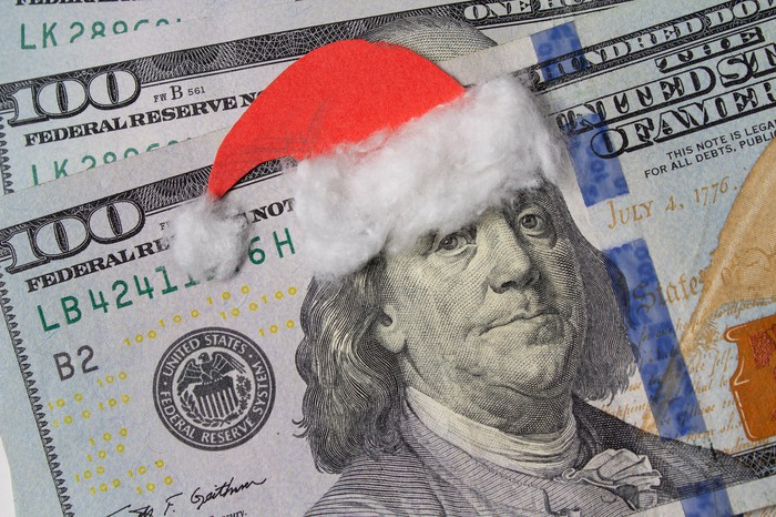 $100 bills with a Santa cap positioned over Ben Franklin's head