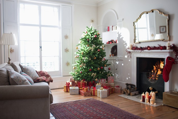 Christmas decorations in a living room