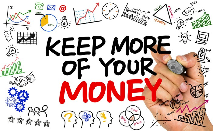 A hand writing the phrase Keep More of Your Money, with doodles of clocks, graphs, money, lightbulbs, and more in the background.