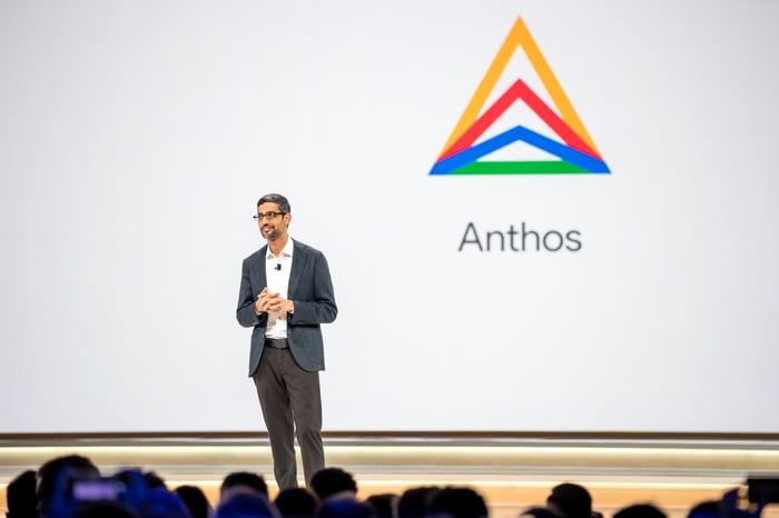 Alphabet CEO Sundar Pichai speaks to an audience at a 2019 event