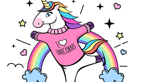 Unicorn wearing I Love Unicorns sweater standing in front of a rainbow