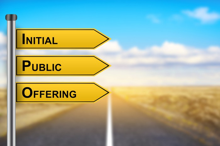 Road signs read Initial Public Offering