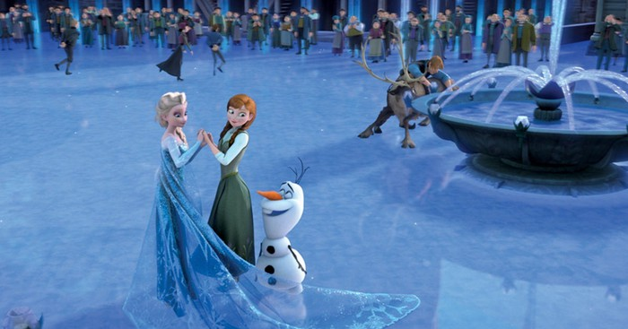 A scene from Disney's Frozen, including Elsa, Anna, and Olaf