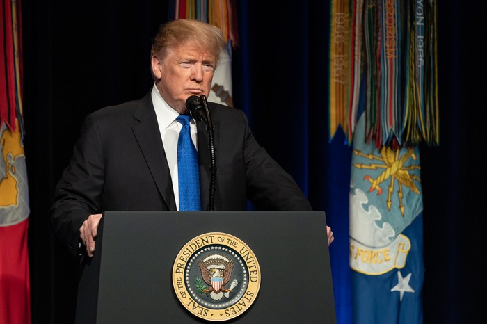 President Trump giving remarks at the Pentagon.