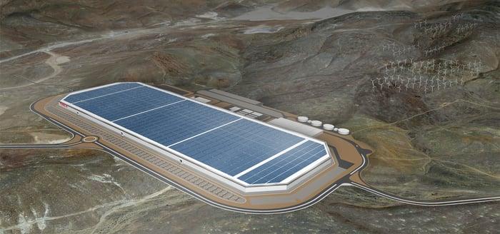 Artist's depiction of Tesla's Gigafactory 1 in Nevada