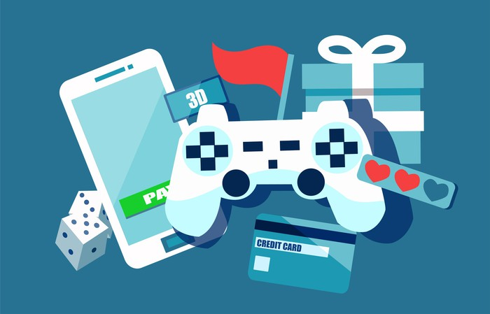 Illustration of a game console, mobile phone, gift box, and credit card.