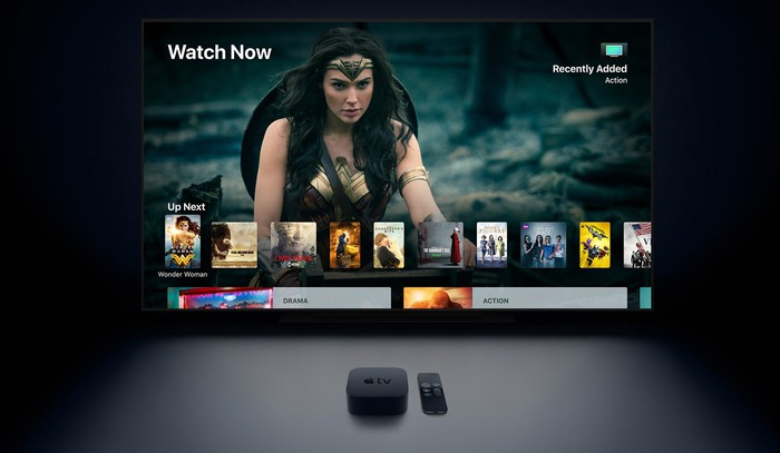 Apple TV box and TV.