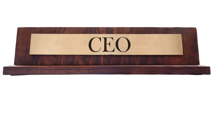 A CEO nameplate