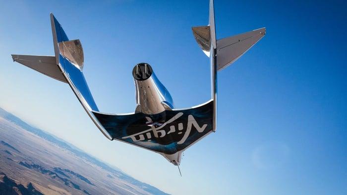 Virgin Galactic spacecraft in flight.
