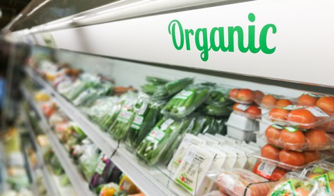Organic Packaged Foods in a Grocery Aisle