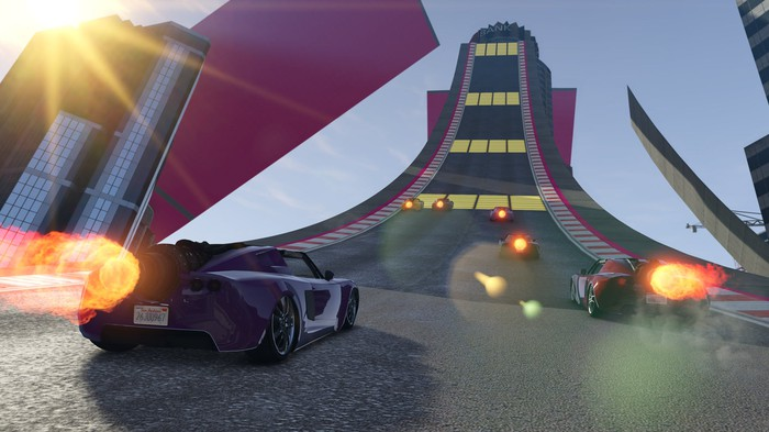 A car heading toward a ramp in 'Grand Theft Auto: Online.'