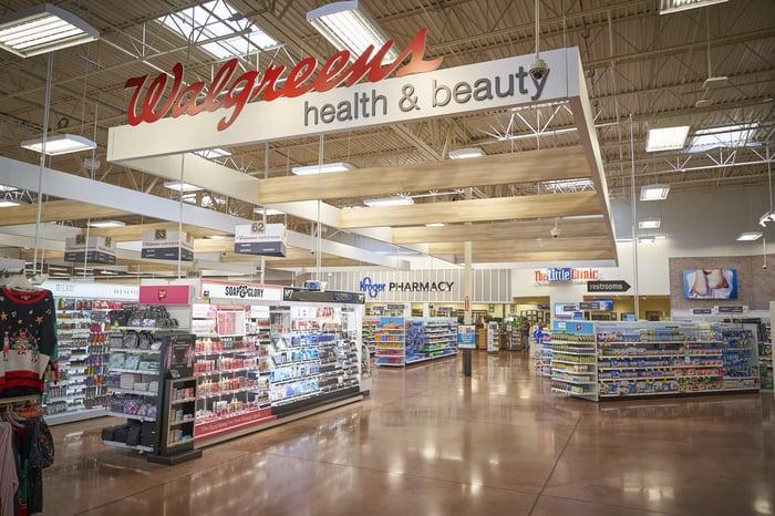 A Walgreens boutique inside a Kroger supermarket