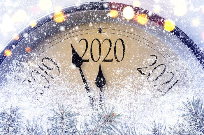 Retro style clock counting last moments before Christmass or New Year 2020.