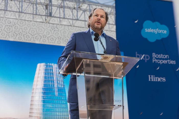 Salesforce Chairman and Co-CEO Marc Benioff speaking in front of a podium.
