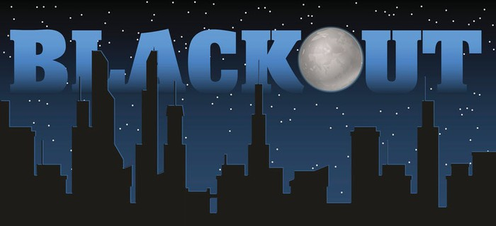 Dark cityscape with Blackout written above in blue.
