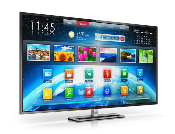 Flat-screen TV with time, date, and temperature showing and various category icons (such as movies and music) on it.