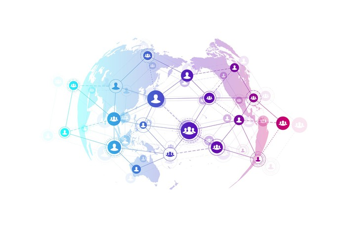 A network of social connections across the world.