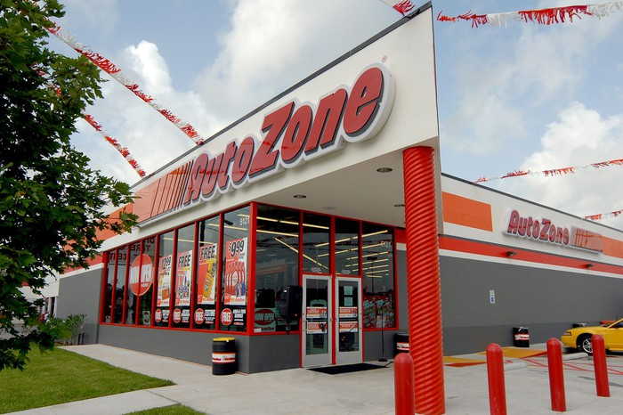 The entrance to an AutoZone store.