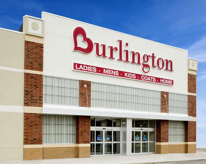 The entrance to a Burlington store.